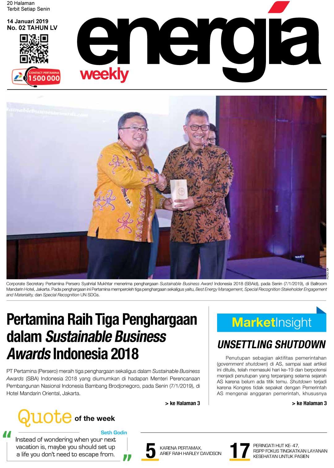 Energia Weekly 3rd Week Of Januari 2019