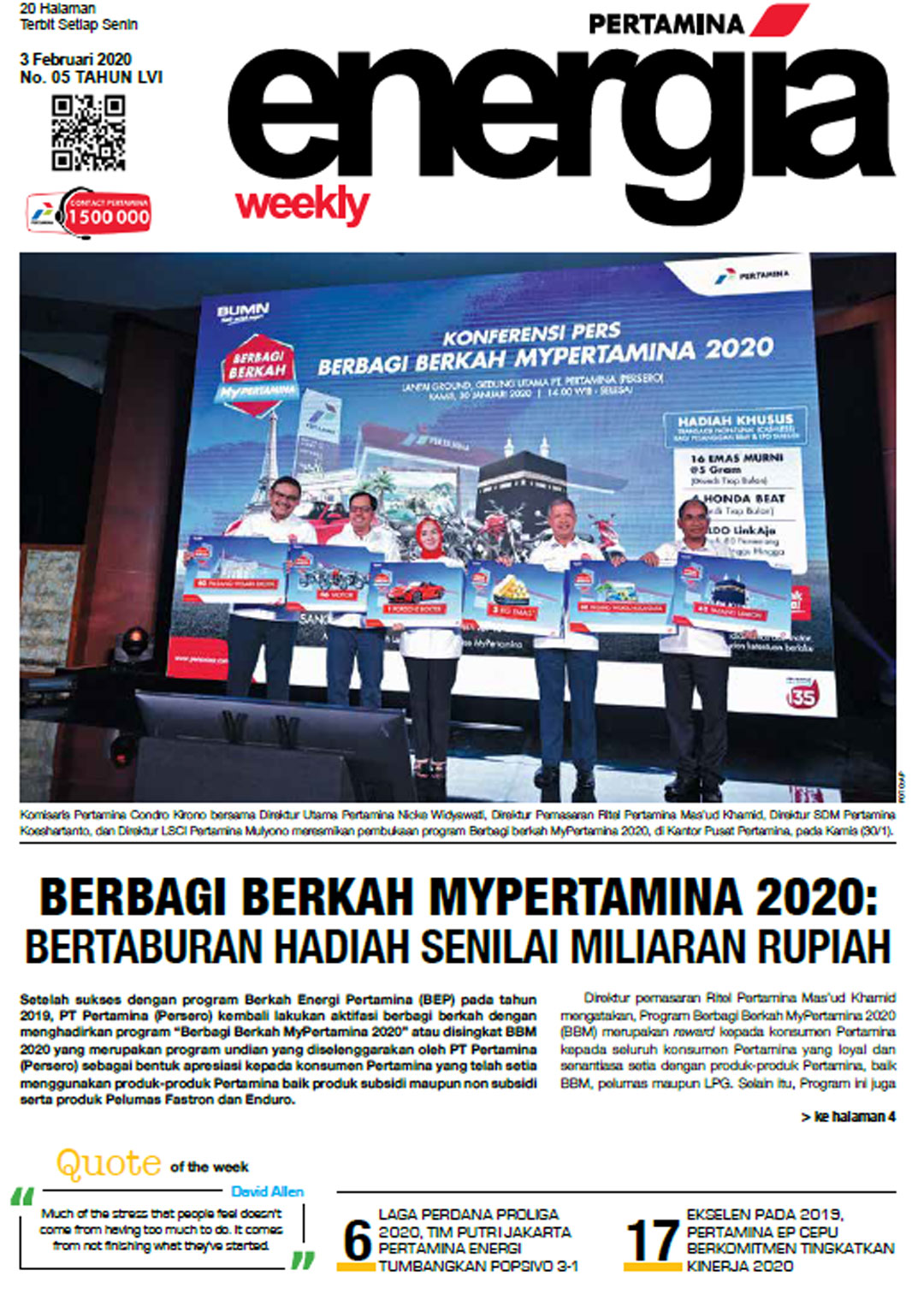Energia Weekly 1st Week of February 2020